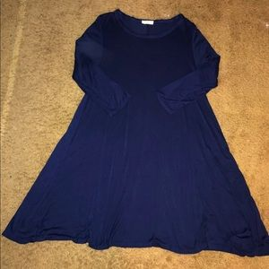 Navy Blue Dress Casual Loose Fit Long Sleeve Large